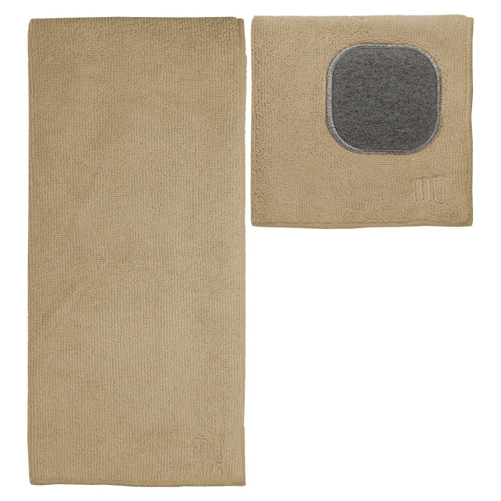 Image of 2pc Ultra Absorbent Solid Microfiber Kitchen Towel With Scrubber Cloth Tan - Mu Kitchen