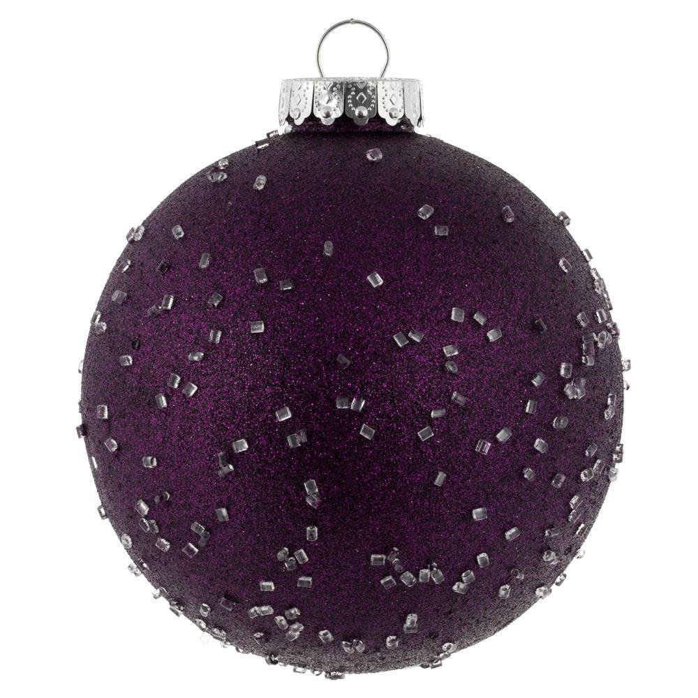 "Image of ""4ct Vickerman 6"""" Ornament Ball Plum Ice"""