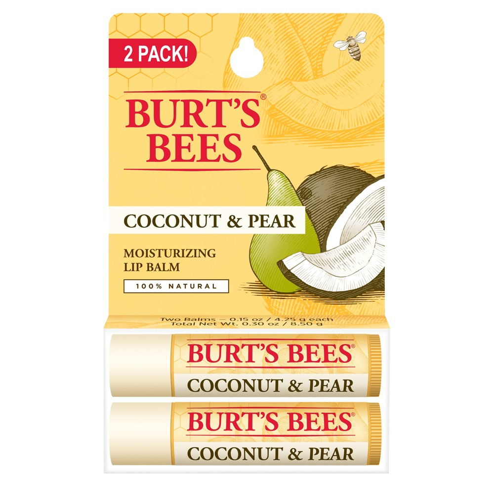 Image of Burt's Bees 100% Natural Moisturizing Lip Balm - Coconut & Pear - .30oz