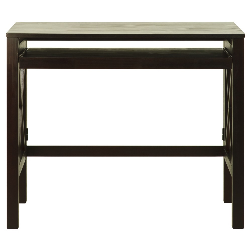 Folding Desk with Pull Out - Espresso (Brown) - Flora Home