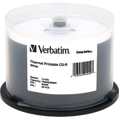 Verbatim CD-R 700MB 52X DataLifePlus White Thermal Printable - 50pk Spindle - Printable - Thermal Printable