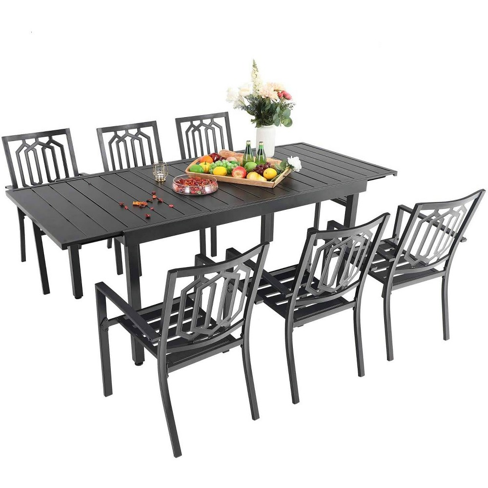 7pc Metal Patio Dining Set With Rectangular Expandable Table 38 6 Chairs Black Captiva Designs