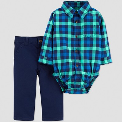Baby Boys' 2pc Plaid Set - Just One You® made by carter's Blue 3M