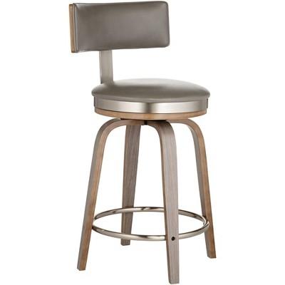 "Studio 55D Tilden 26"" High Gray Leather Counter Stool"