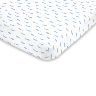 NoJo Super Soft Blue and White Watercolor Narwhal Fitted Crib Sheet