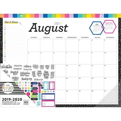 Desk Calendar 2020.2019 2020 Academic Desk Calendar Get It Done The Happy Planner