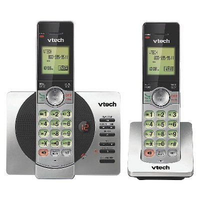 VTech® CS6929-2 DECT 6.0 Expandable Cordless Phone System with Answering Machine, 2 Handsets - Silver