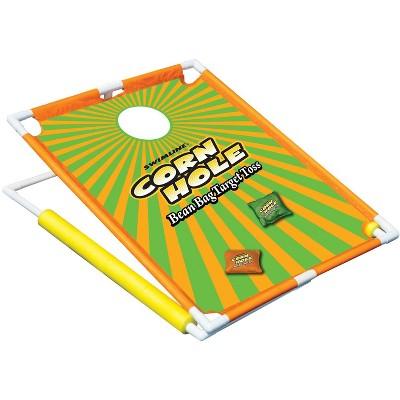 "Swimline 36"" Water Sports Floating Corn Hole Bean Bag Target Toss Swimming Pool Game - Orange/Green"