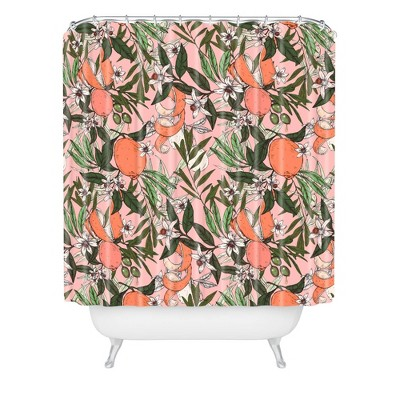 Marta Barragan Camarasa Olives in the Flowers Shower Curtain Pink - Deny Designs