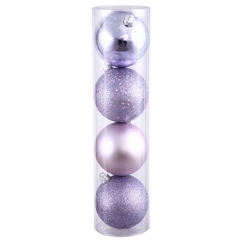 4ct Lavender Assorted Finishes Ball Shatterproof Christmas Ornament Set - image 1 of 1