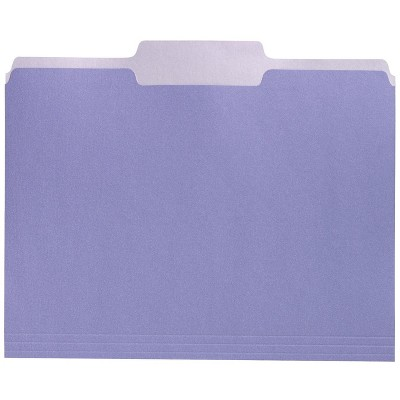 School Smart Two-Tone Reversible File Folders, 1/3 Cuts, Lavender, pk of 100