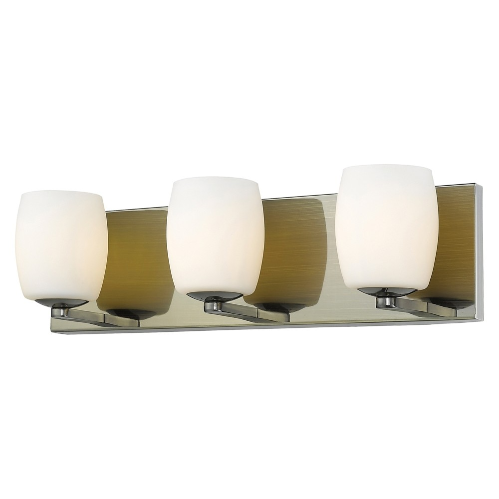 Access Lighting Serenity 3 Light Vanity Opal Glass Shade Wall Lights Gold