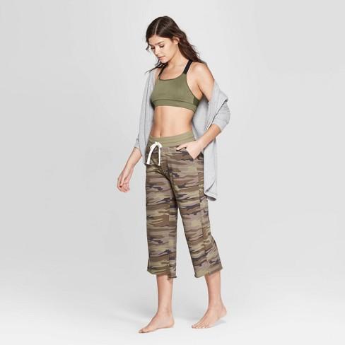Women's Camo Print Cropped Wide Leg Lounge Pants - Colsie™ Beige XL - image 1 of 3