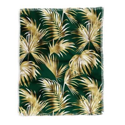 Marta Barragan Camarasa Golden Palms Woven Throw Blanket Green - Deny Designs