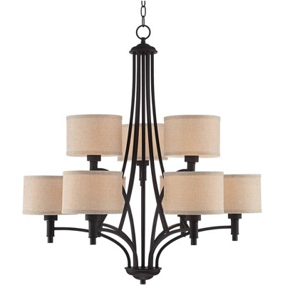 """Franklin Iron Works Oil Rubbed Bronze Chandelier 30 1/2"""" Wide Industrial Linen Shade 9-Light Fixture for Dining Room House Kitchen"""