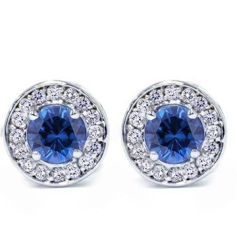 Pompeii3 5/8ct Halo Diamond Blue Sapphire Studs 14K White Gold - image 1 of 3