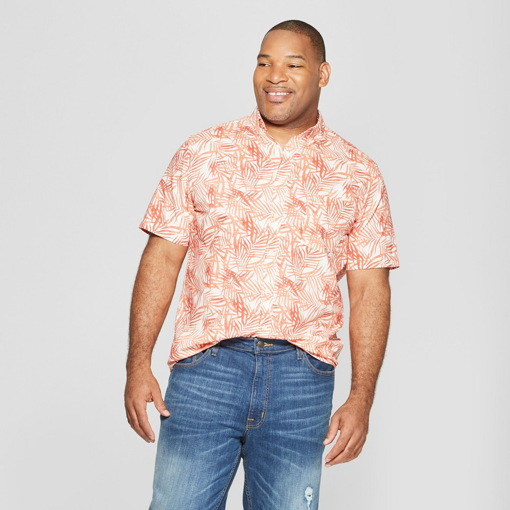 Men's Big & Tall Standard Fit Short Sleeve Poplin Button-Down Shirt - Goodfellow & Co Jewel Orange 4XB, Red