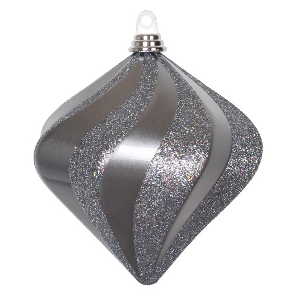 8 Pewter Candy Glitter Swirl Diamond Christmas Ornament, Gray