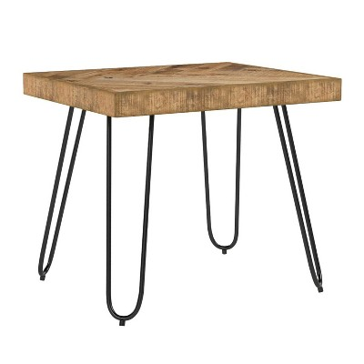Mindful Living Rustic Farmhouse Mid Century Modern Fusion Mango Wood Top and Iron Hairpin Legs Chevron Pattern Rectangular Accent End Table, Large
