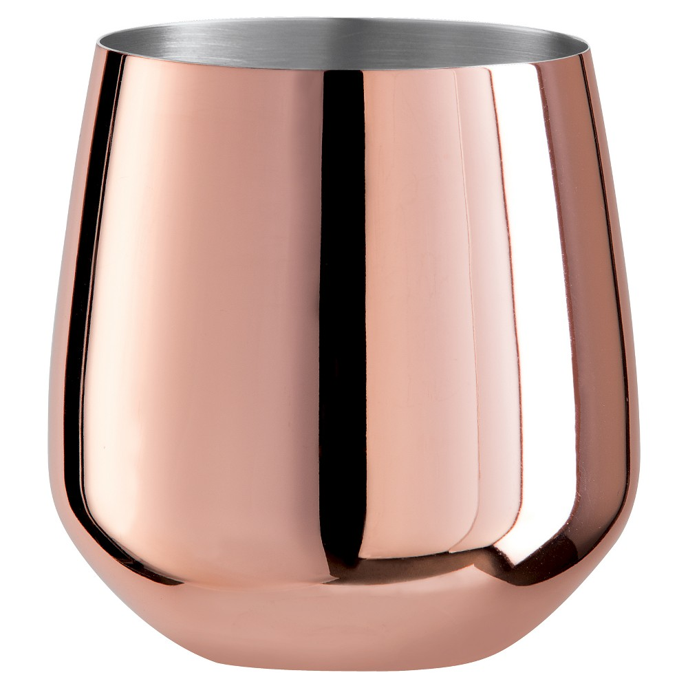 Image of Oggi 17oz Wine Glass Copper (Brown) - Set of 2