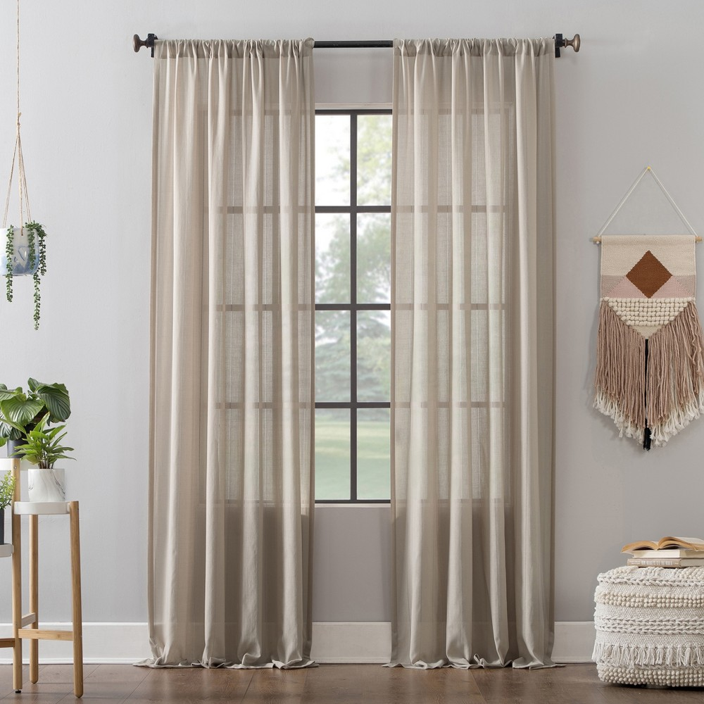 "Image of ""52""""x84"""" Leno Weave Stripe Anti-Dust Curtain Panel Oatmeal - Clean Window"""