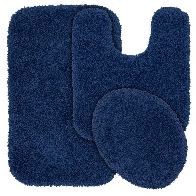3pc Serendipity Shaggy Washable Nylon Bath Rug Set Navy - Garland