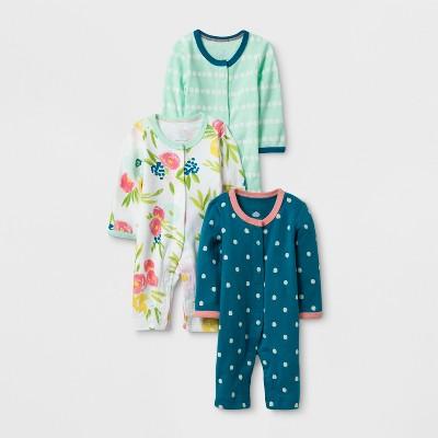 Baby Girls' 3pk Sleep N' Play Set Cloud Island™ - Mint/Blue preemie