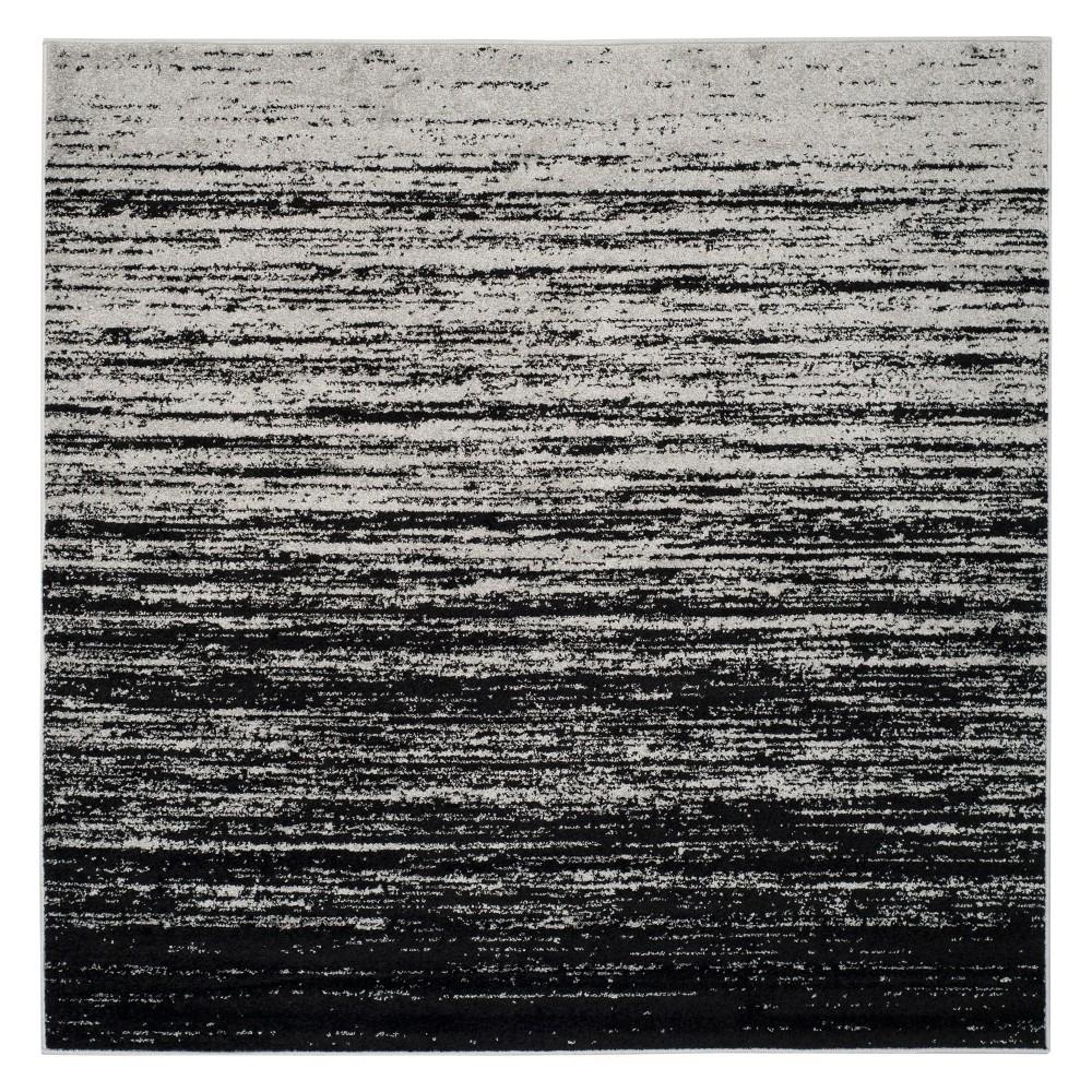 8'X8' Ombre Design Square Area Rug Silver/Black - Safavieh