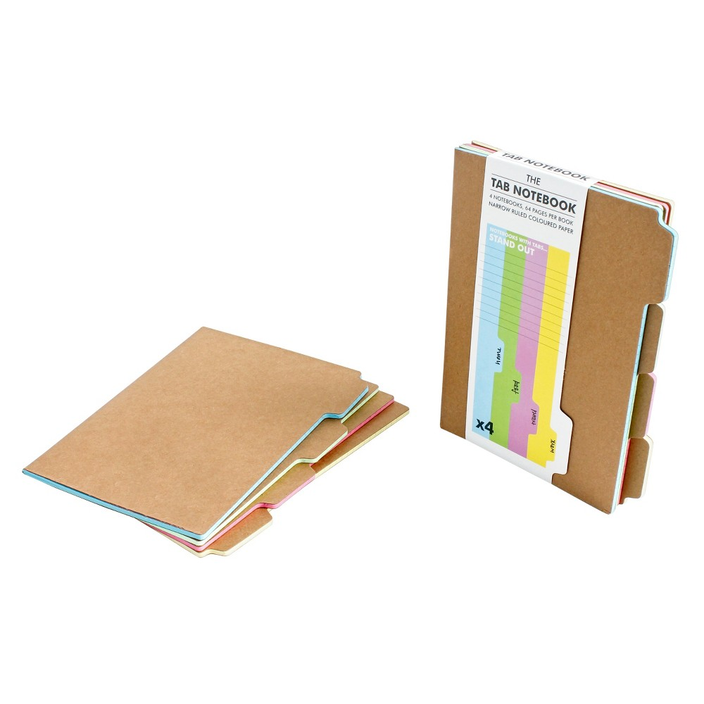Suck UK Tab Composition Notebooks College Ruled 4ct - Kraft, Multi-Colored
