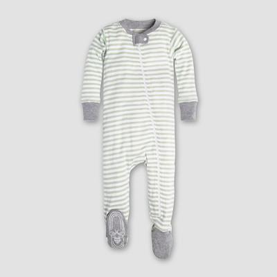 Burt's Bees Baby Organic Cotton Mini Stripe Sleeper - Green 3-6M