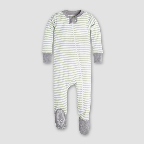 a8c5a331a Burt s Bees Baby Organic Cotton Mini Stripe Footed Sleeper - Green ...