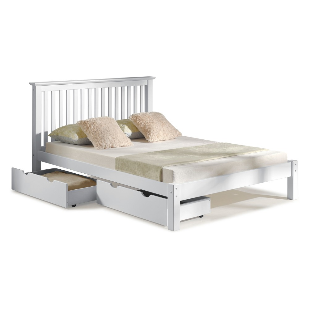 Image of Barcelona Queen Bed With Storage Drawers White - Bolton Furniture