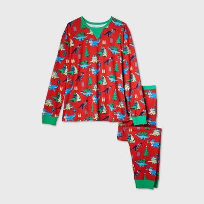 Men's Big & Tall Holiday Dinosaur Print Matching Family Pajama Set - Wondershop™ Red 5XBT