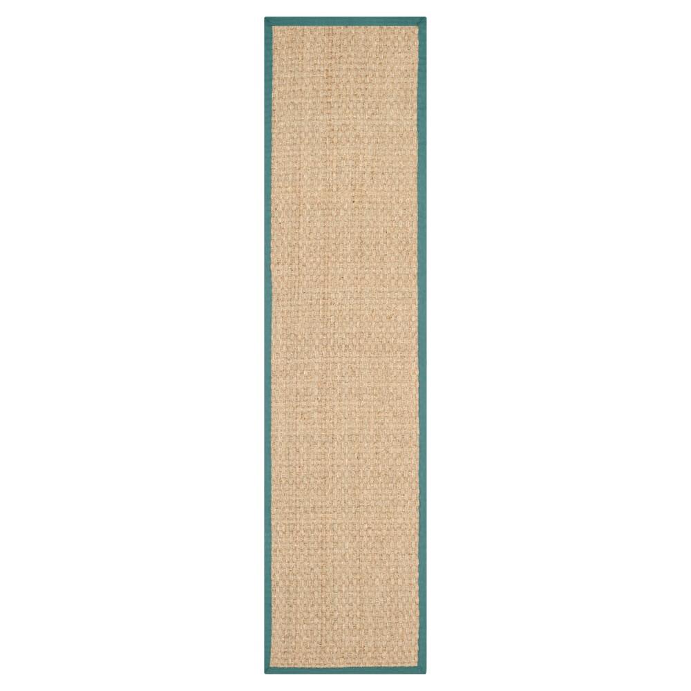2'6X12' Basket Weave Runner Natural/Light Blue - Safavieh