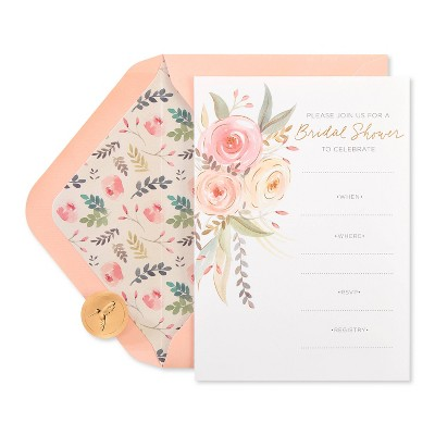 20ct Wedding Invitation Cards Coral Floral - PAPYRUS