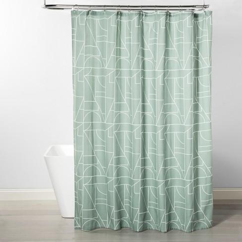Herringbone Geometric Shower Curtain Green