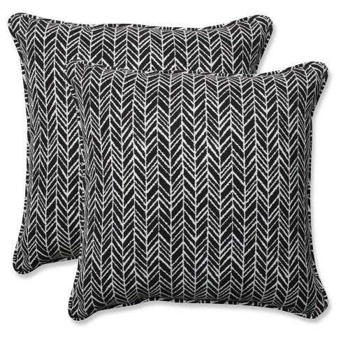 Outdoor Indoor Herringbone Black Throw Pillow Set Of 2 Pillow