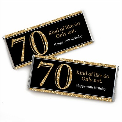 Big Dot of Happiness Adult 70th Birthday - Gold - Candy Bar Wrappers Birthday Party Favors - Set of 24