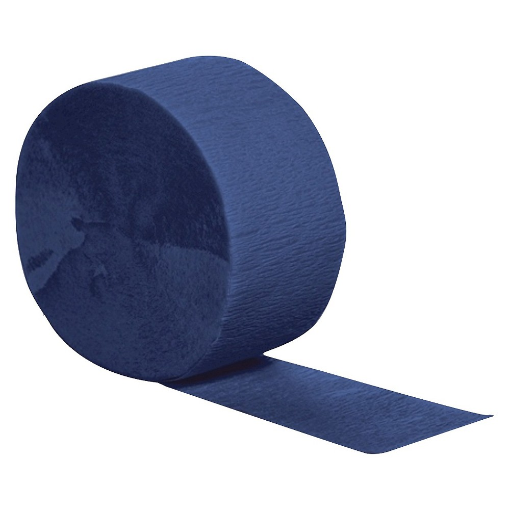 Navy Blue Party Streamers Complete your birthday or holiday party decorations with these colorful Crepe Streamers. Drape from the ceiling, tape to the wall or hang them in doorways — the only limit is your imagination. And with 13 different colors, there's a party streamer to match any theme or color scheme. Color: Navy Blue. Age Group: Adult.