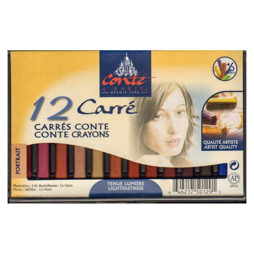 Image of Sketching Crayons Portrait Colors 12ct - Conte