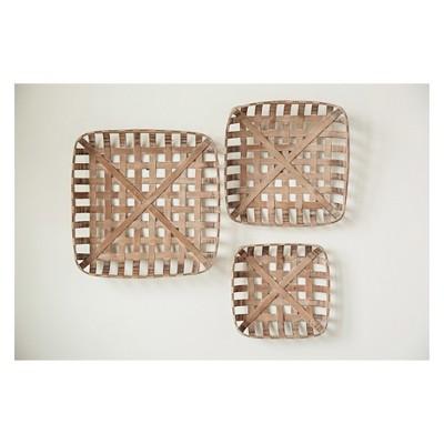 3pc Square Wood Basket Set Natural - 3R Studios