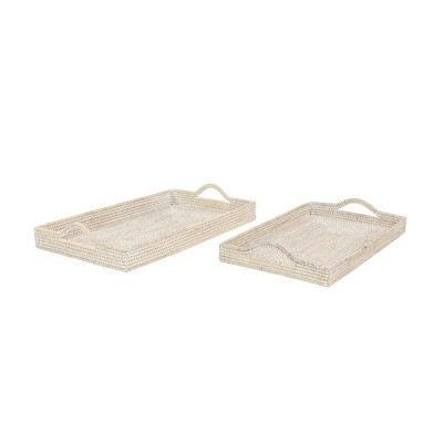 Set of 2 Handwoven Bamboo Trays - Olivia & May