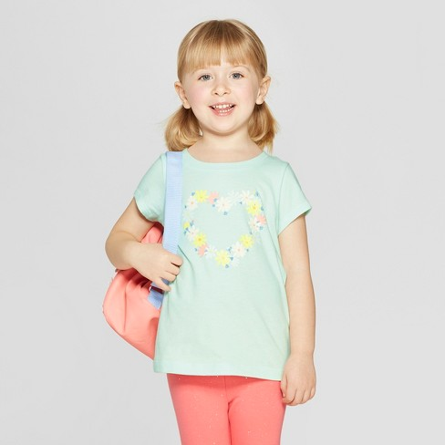 Toddler Girls' Short Sleeve 'Floral Heart' Graphic T-Shirt - Cat & Jack™ Aqua - image 1 of 4
