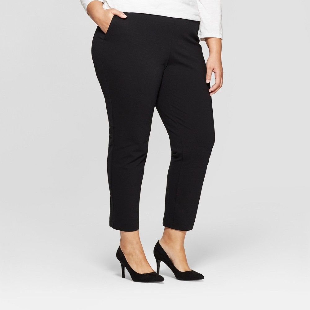 Women's Plus Size Pull On Slim Ankle Ponte Pants - Ava & Viv Black 1X