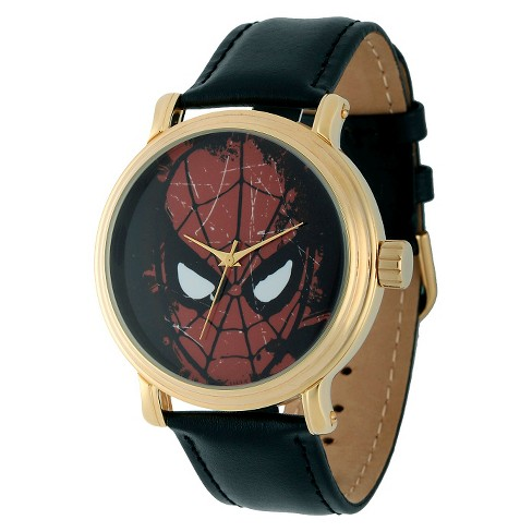 Men's Marvel Spider-Man Vintage Watch Shiny with Alloy Case - Black - image 1 of 2
