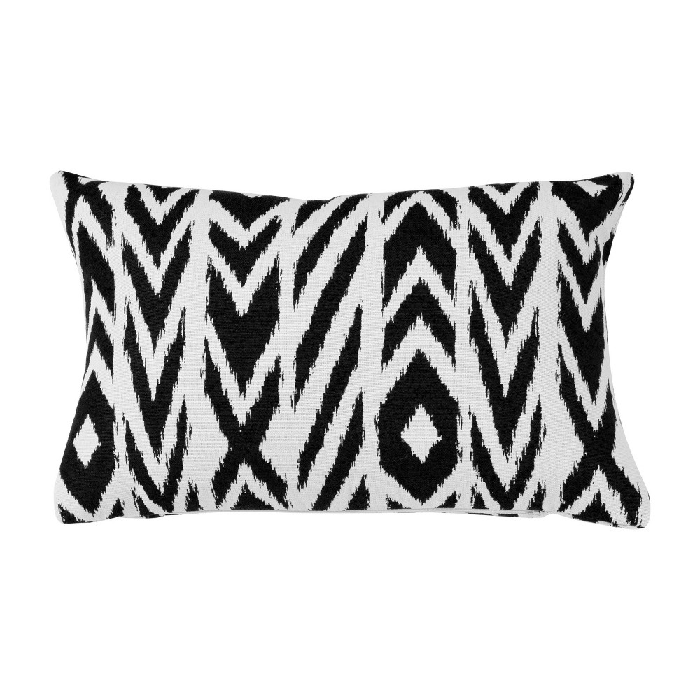 "Image of ""Pacifica Lumbar Throw Pillow Fire Island Charcoal - Astella, Size: 12""""x18"""", Red Blue Grey"""