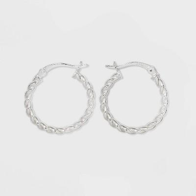 Sterling Silver Twist Hoop Earrings - A New Day™ Silver