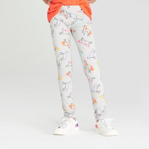 Girls' Unicorn Print Leggings - Cat & Jack™ Heather Gray M - image 1 of 3