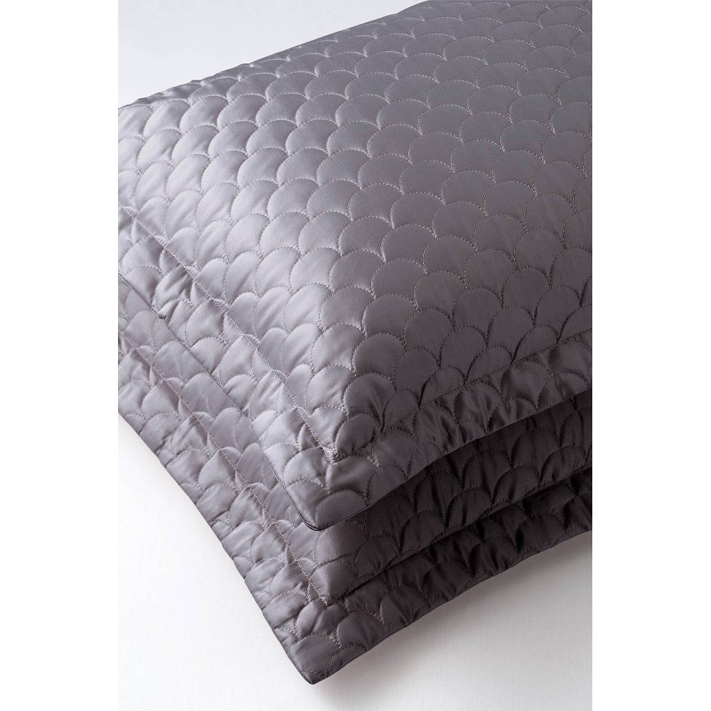 Image of Queen Quilted Pillow Sham Charcoal - Nikki Chu, Grey