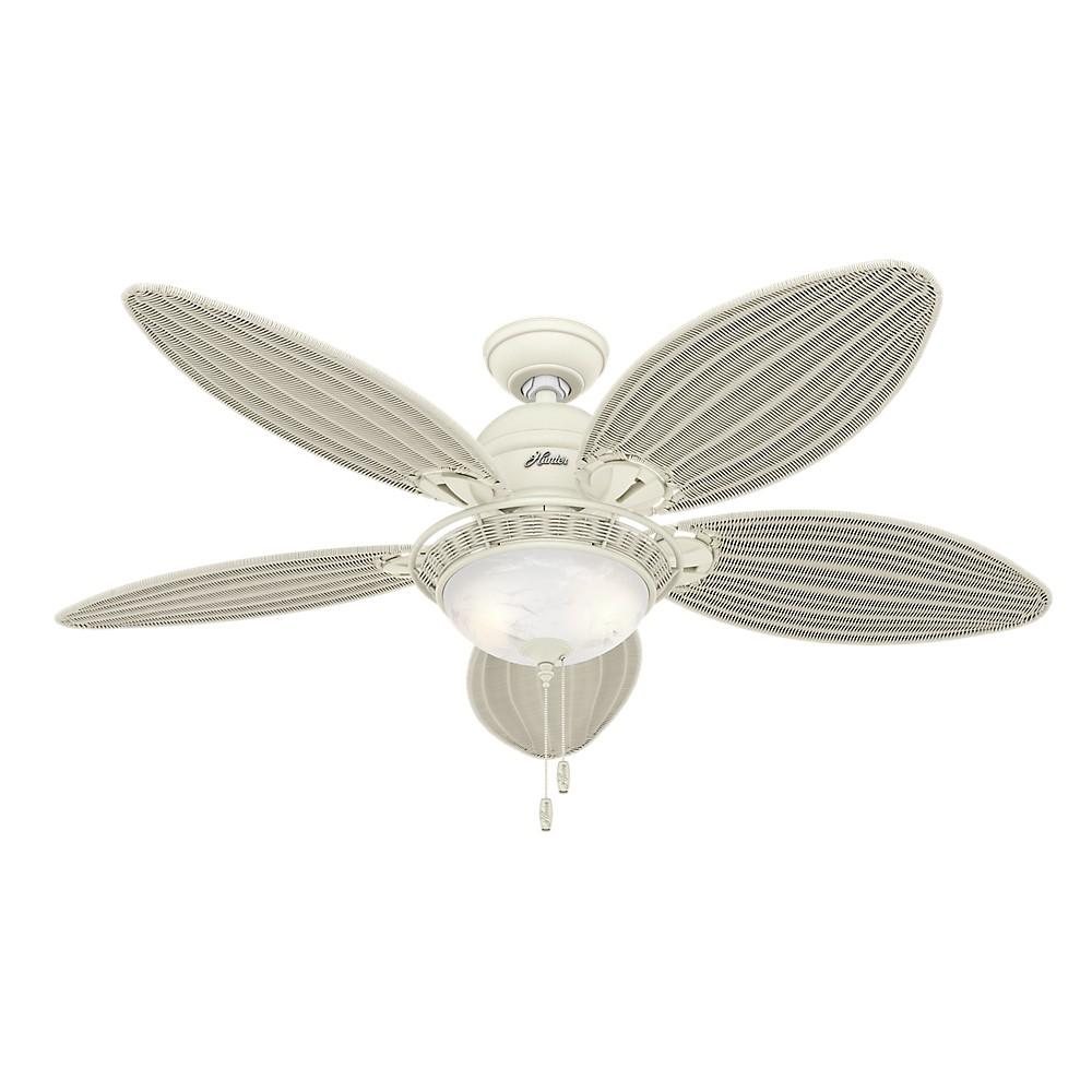 54 Caribbean Breeze Textured White Ceiling Fan with Light - Hunter Fan